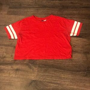 H&M T-shirt Red White Stripes Woman Size Small